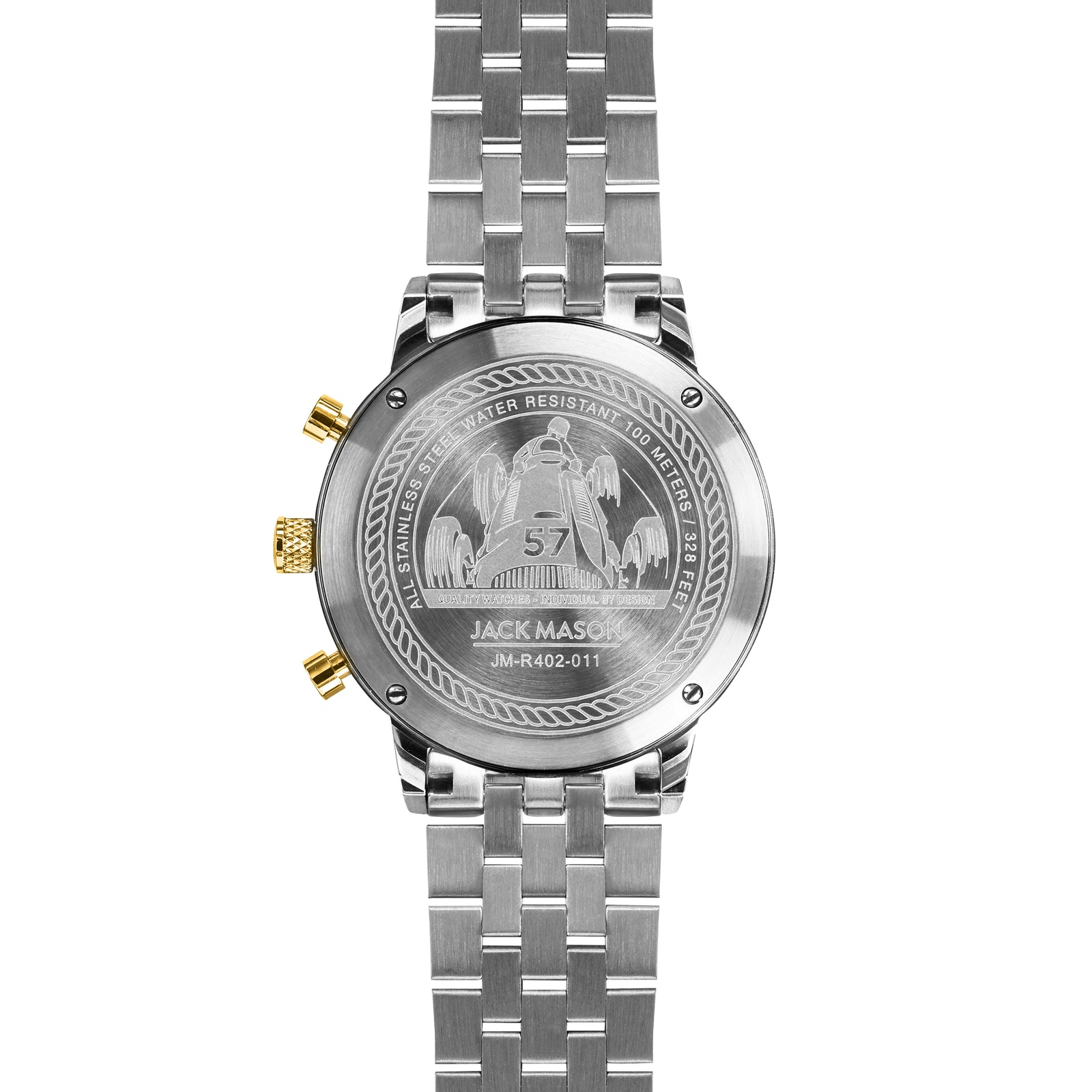 The back of the bracelet style watch band on the racing chronograph watch