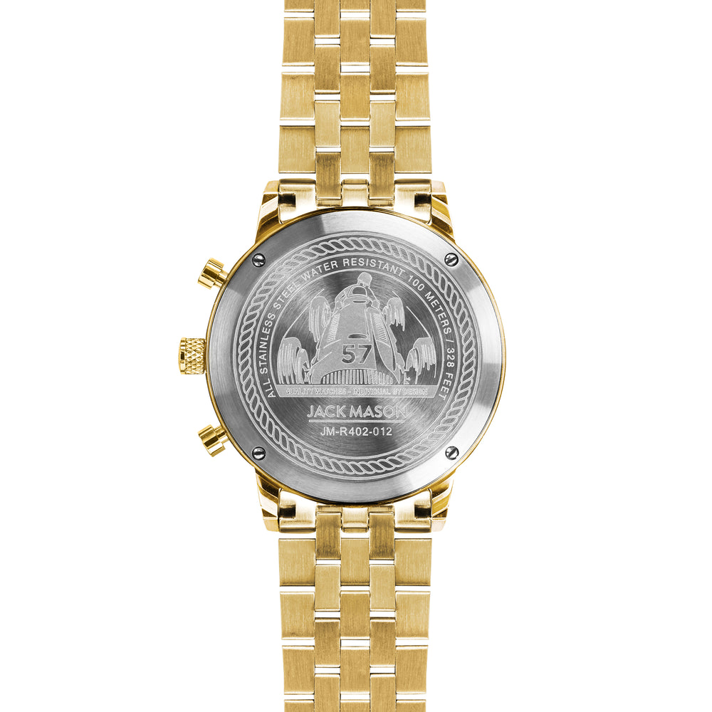 The back of the yellow gold racing chronograph watch by jack mason
