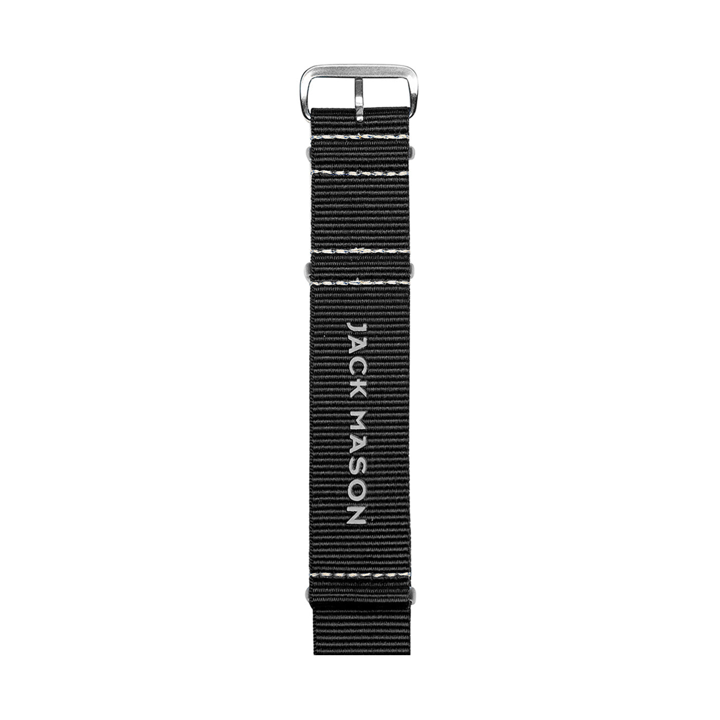 The backside of the black Nato watch strap by Jack Mason