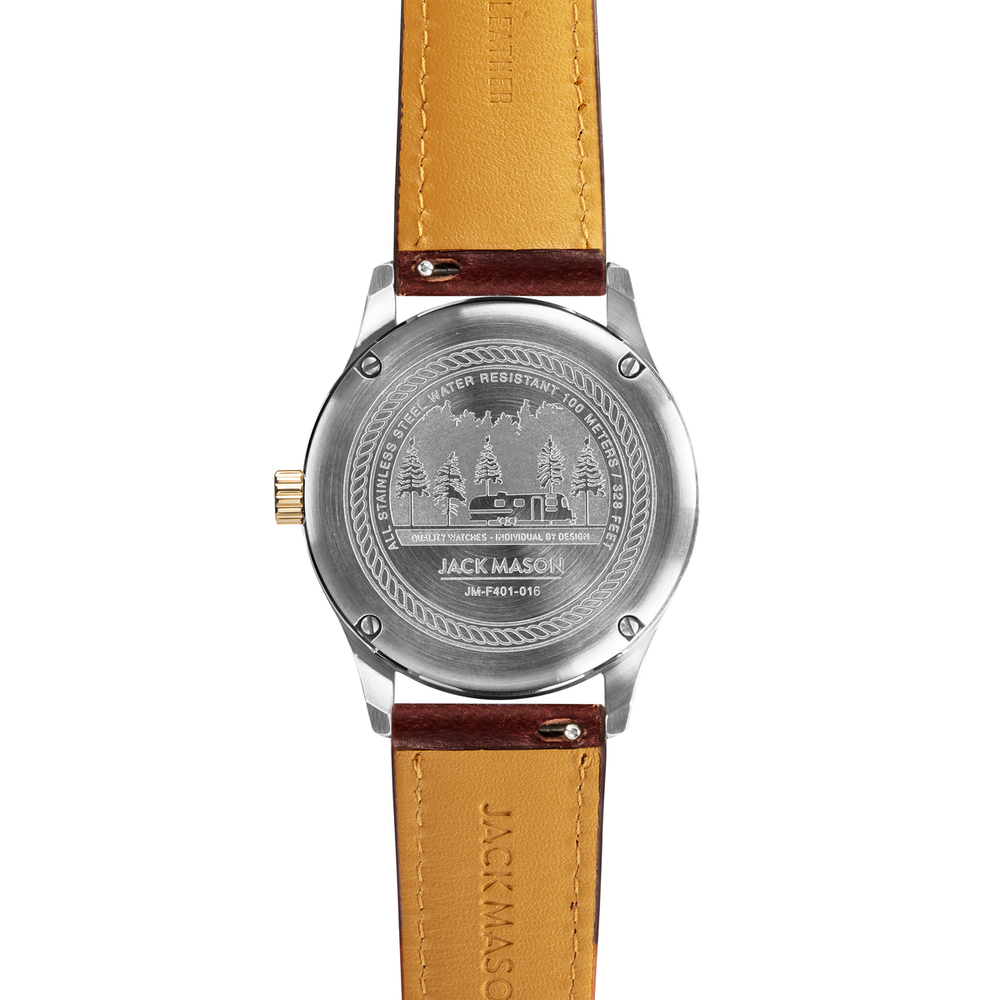 The back of the field watch with a dark brown leather watch strap