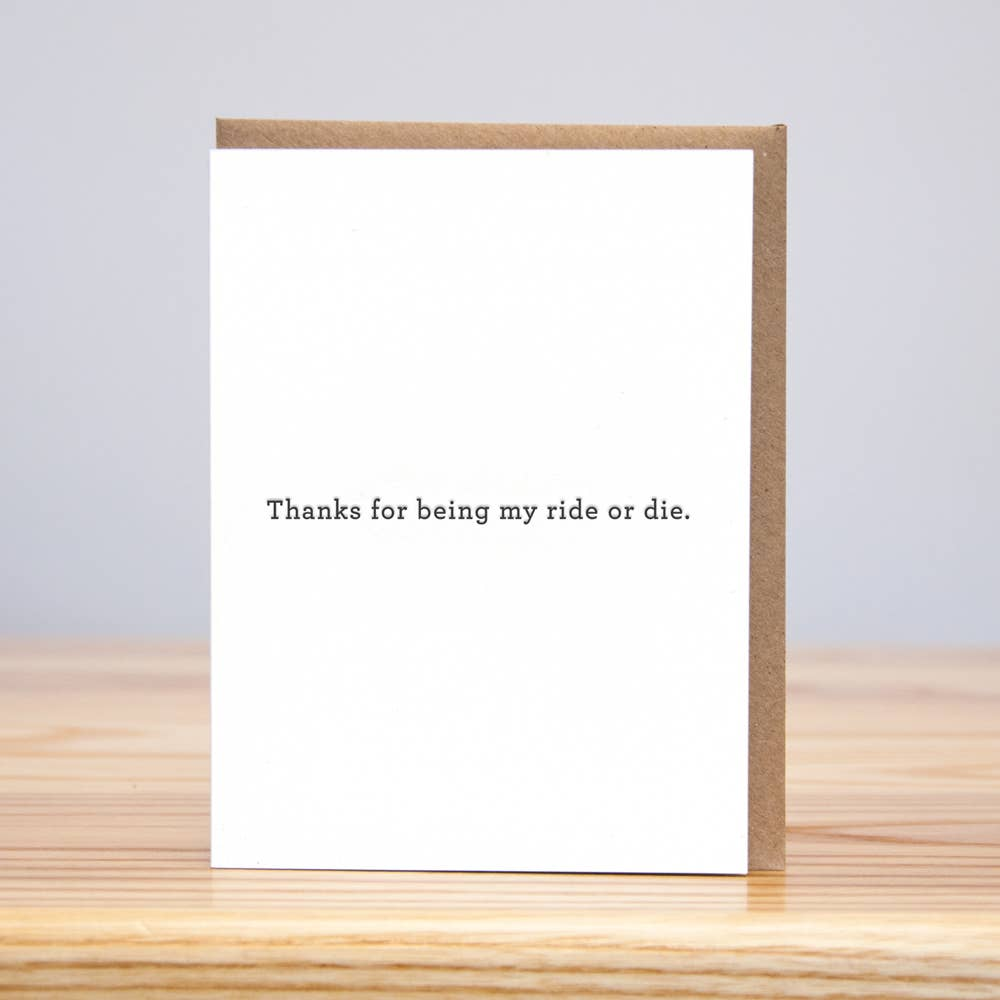 Ride or Die Thank You Card