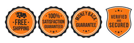 Four orange icons in a row: free shipping, 100% satisfaction guaranteed, money back guarantee, varified and secured.