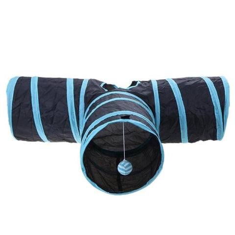 Foldable Cat Tunnel - Blue 3 Holes