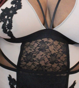 Black & Tan Cut Out Lingerie Teddy