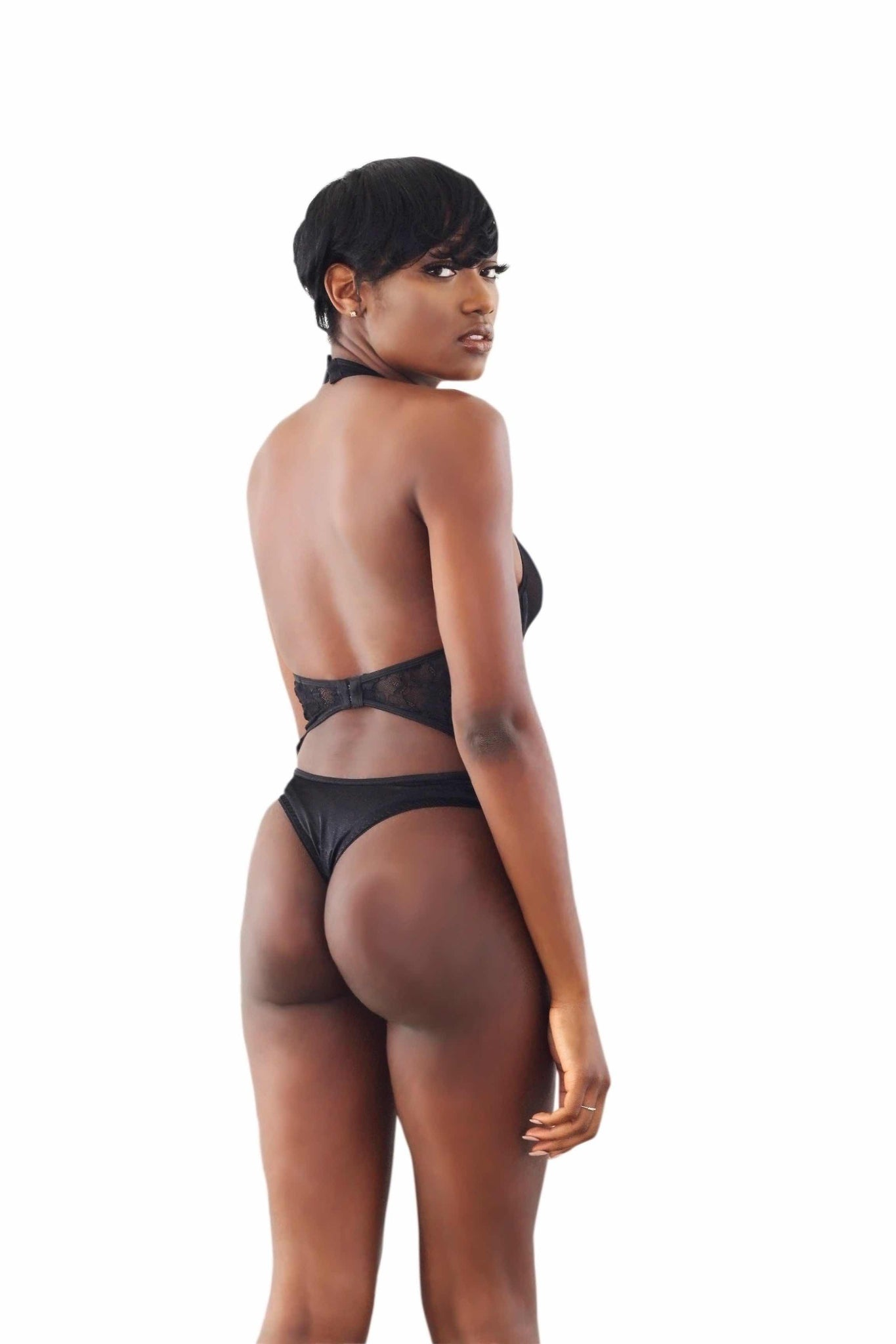 black one piece lingerie
