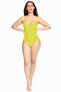 Yellow Lace Lingerie One Piece | Sheer and Lace Bodysuit