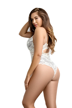 Plus Size White Teddy  | Plus Size Lingerie Teddy - (NO DEFAULT)