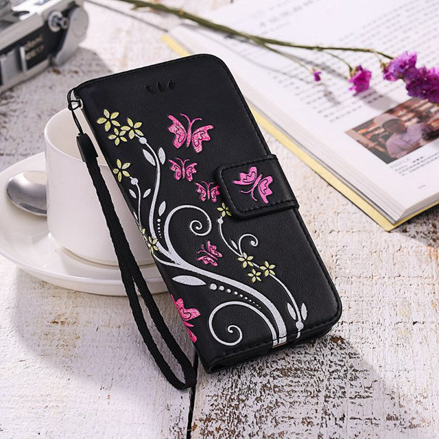 Butterfly Fly Flower Leather Flip Book Wallet Cell Phone Case