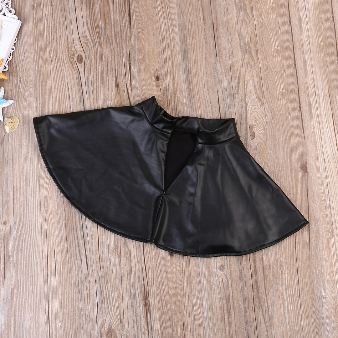 2PC Mini Boss Top + Faux Leather Skirt