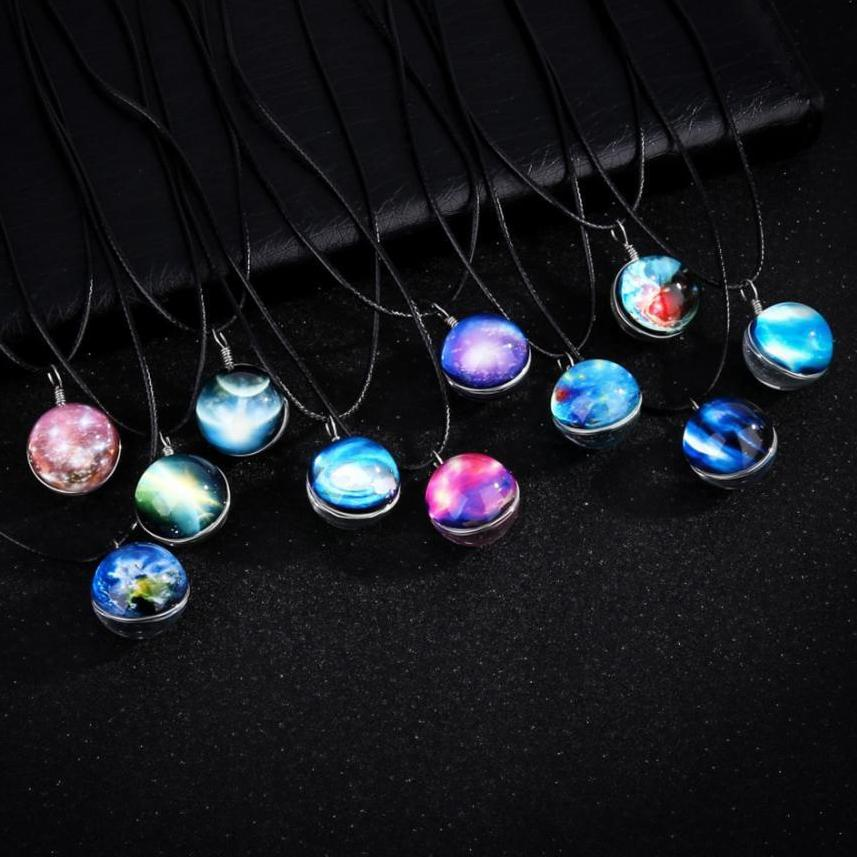 Glass Glowing Pendant Galaxy Necklace Glow In The Dark Starry Design