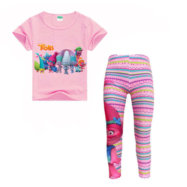 Trolls T-Shirts + Print Leggings Sets