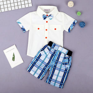 Bow Tie Shirt + Plaid Shorts Set