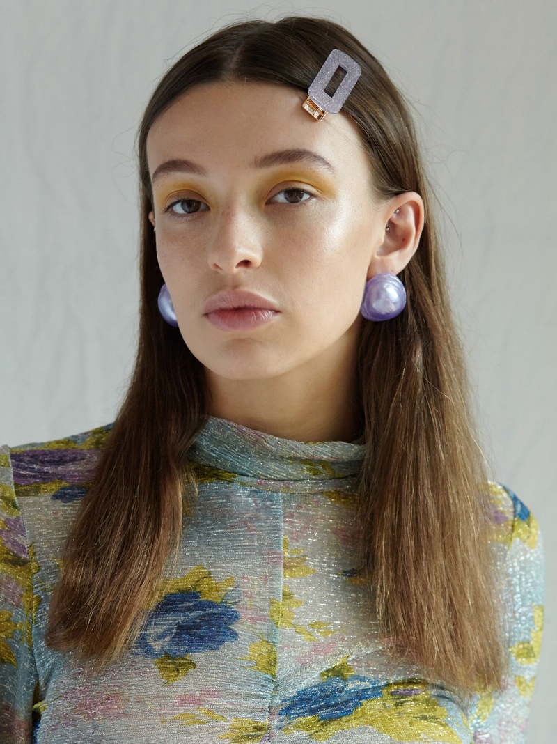Valet Studio Great Hair Clips in Purple Glitter on model