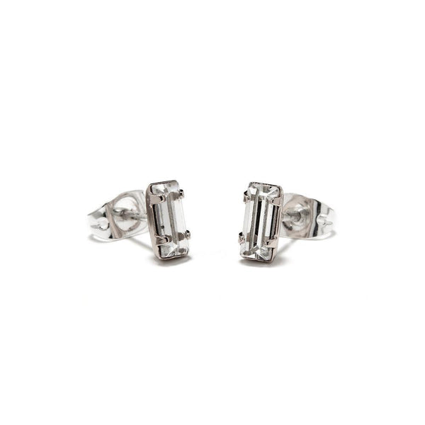 Bing Bang Tiny Baguette Studs Silver LULIE