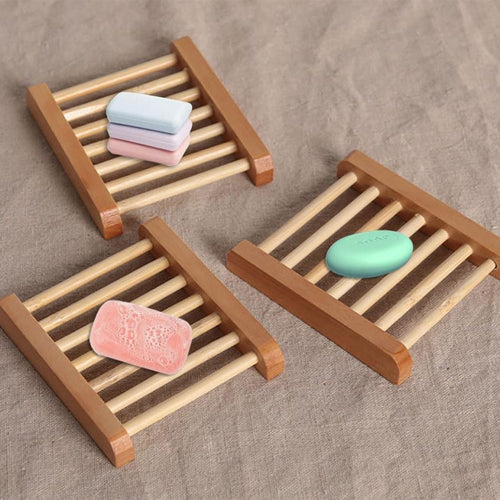 1pc 12*9*1.7cm Natural Wood Soap Tray Holder Dish Storage Bath Shower Plate Home Bathroom Wash Wood Soap Holder