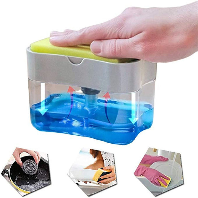 Multifunction Soap Dispenser Sponge Caddy Non-toxic Odorless Dispenser Kitchen Rack Creative Bathroom Washing Soap Storage Box