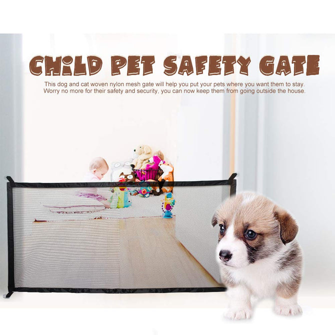 Dog Gate Ingenious Mesh Dog Fence for Indoor and Outdoor Safe Pet Dog Gate Safety Enclosure Pet Supplies