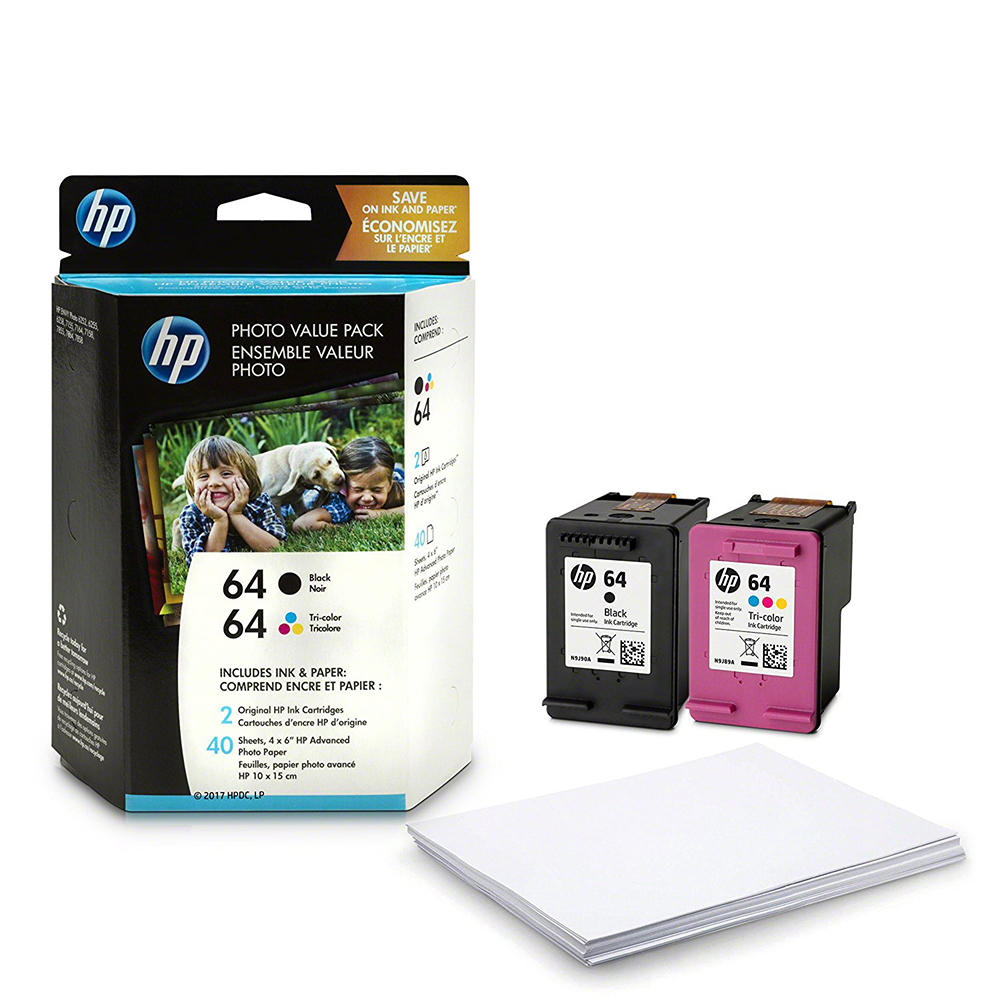 HP 64, Z2H77AN OEM Ink Cartridge/Paper Kit Value Pack - 200 Pages Black, 165 Pages Tri-color