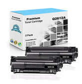 Premium Compatible HP Q2612A, 12A Toner Cartridge, Black, 2.5K (2xPack)