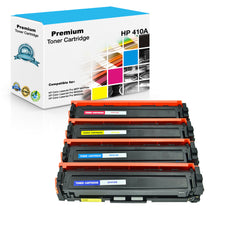 Compatible HP 410A Toner Cartridges for CF410A, CF411A, CF412A, CF413A - Value Pack