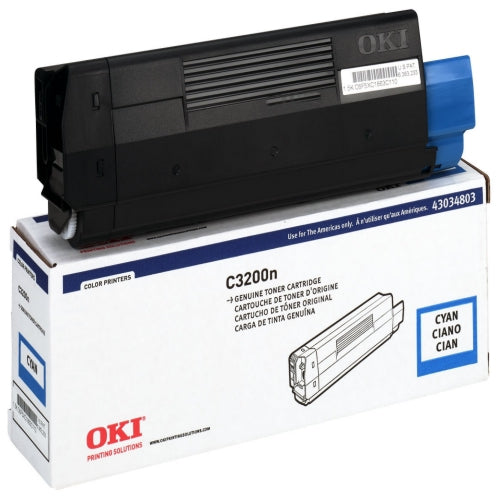 Okidata 43034803 OEM Toner Cartridge For C3200 Cyan - 1.5K