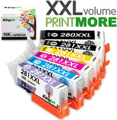 Kingjet Compatible Canon PGI-280XXL, CLI-281XXL Ink Cartridges (B,PB, C, Y, M, PC) Value Pack
