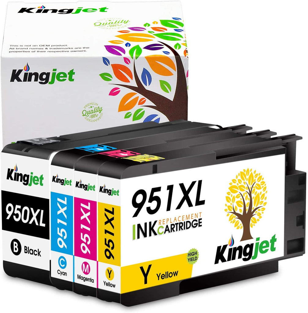 KingJet Compatible HP 950XL, 951XL Ink Cartridges, Black, Cyan, Yellow, Magenta 4 Pack
