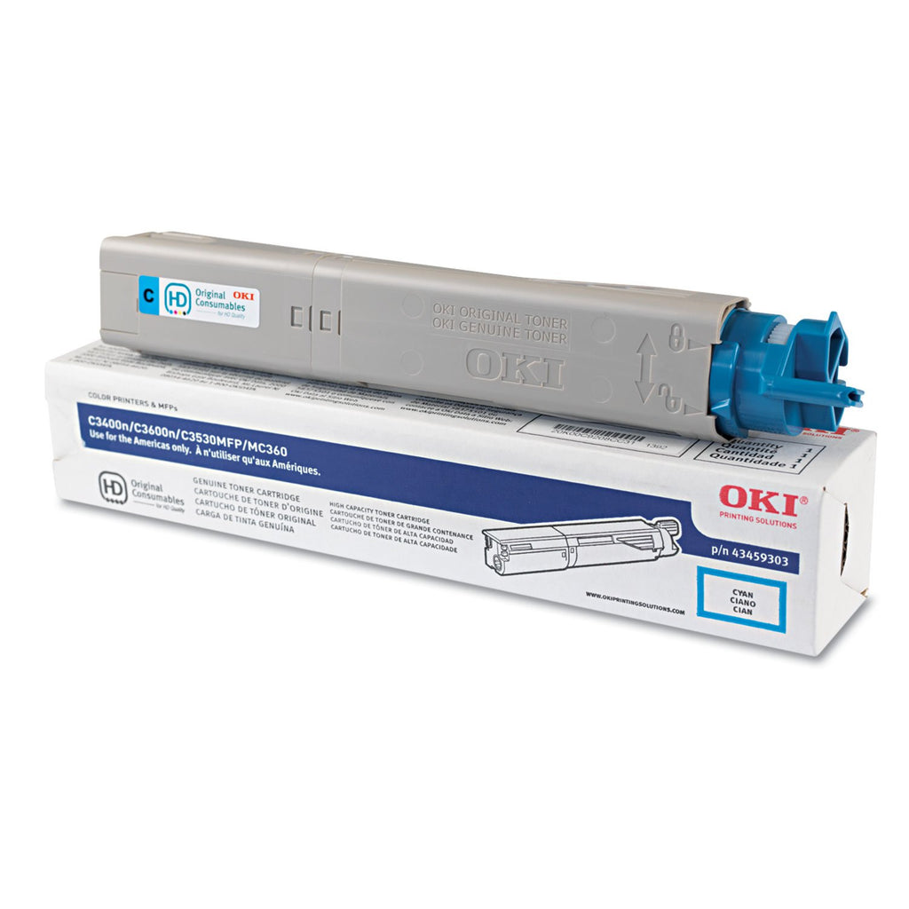OEM Okidata 43459303 Toner Cartridge For C3400 Cyan - 2K