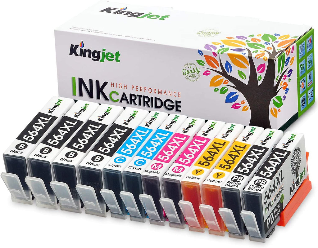 KingJet Compatible HP 564XL Ink Cartridges Black, Photo Black, Cyan, Yellow, Magenta(5 Color, 2 Set and 2 Large Black)