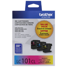 OEM Brother LC1013PKS Ink Cartridges (LC101C, LC101M, LC101Y) (3 x 300 Pages)