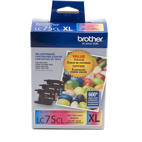 OEM Brother LC753PKS Ink Cartridges (LC75C, LC75M, LC75Y)(3 x 600 Pages)