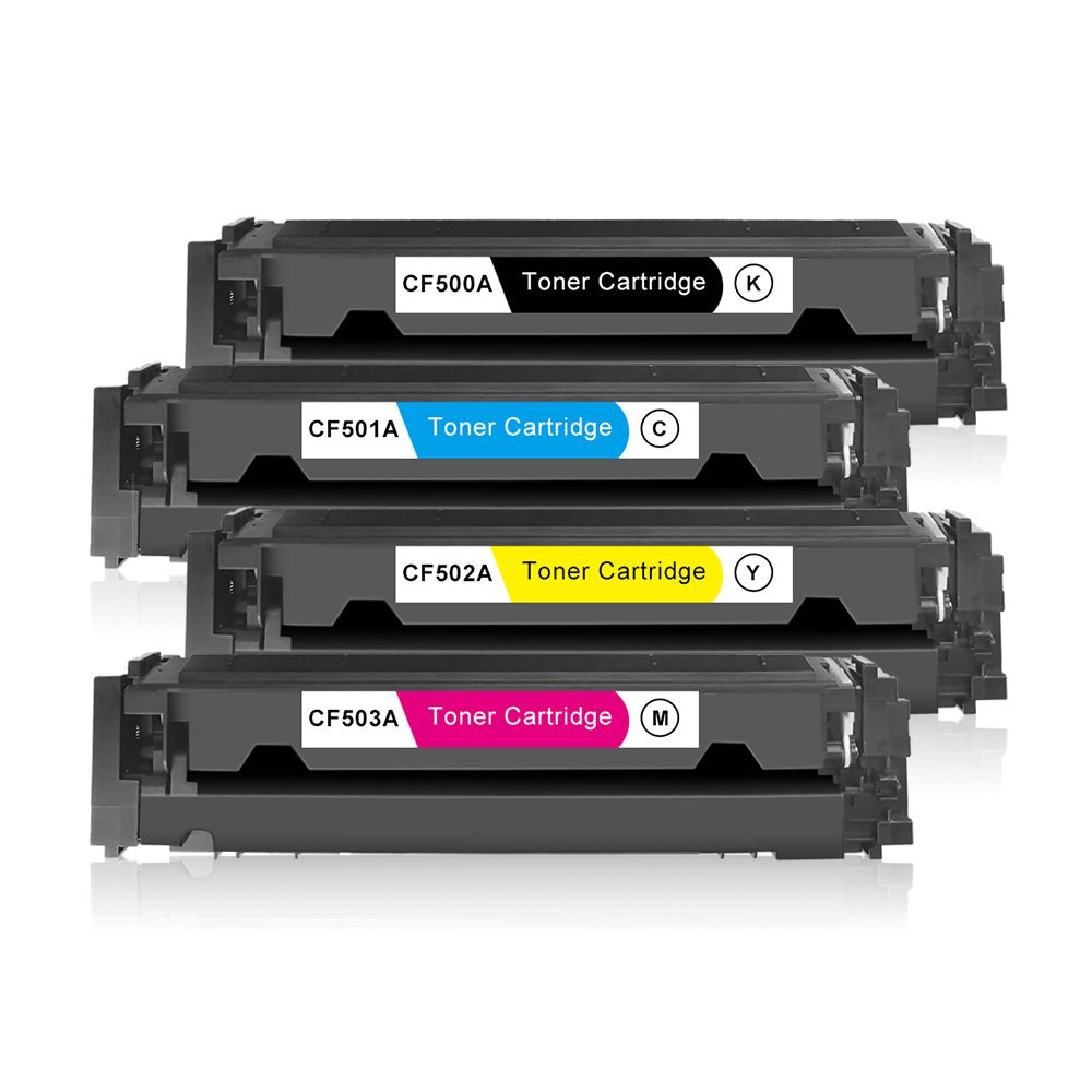 Compatible HP 202A CF500A CF501A CF502A CF503A Toner Cartridges - Value Pack