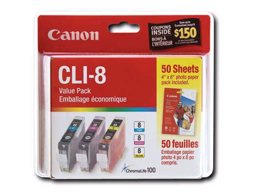 OEM Canon 0621B014, (CLI-8) Ink Cartridge - Cyan, Magenta, Yellow