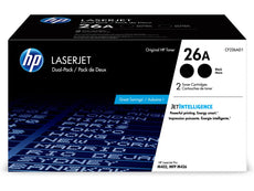 Original HP 26A, CF226AD1 Toner Cartridge - Black - 3,100 Pages (Per Cartridge) - 2 Pack