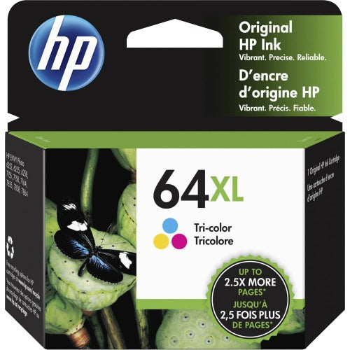 Original HP 64XL, N9J91AN Ink Cartridge - Tri-color - Inkjet - High Yield - 415 Pages