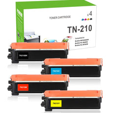 Combo Set Brother TN-210 Toner Cartridges Compatible with TN210BK, TN210C, TN210M, TN210Y