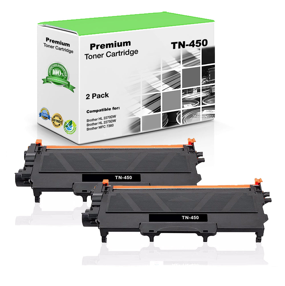 Compatible Brother TN450, TN-450 Toner Cartridge - Black - 2.6K (2 Pack)