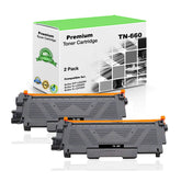 Premium Compatible Brother TN660, TN-660 Toner Cartridge - Black (2 Pack) - 2.6K