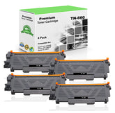 Premium Compatible Brother TN660, TN-660 Toner Cartridge - Black (4 Pack) - 2.6K