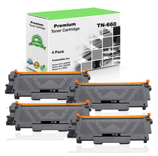 Compatible Brother TN660, TN-660 Toner Cartridge - Black (4 Pack) - 2.6K