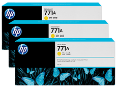 OEM HP 771A, B6Y42A Designjet Ink Cartridge - Yellow - 775ml x 3 Pack