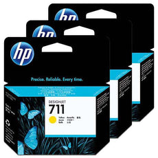 Original HP 711, CZ136A DesignJet Ink Cartridges - Yellow - 29ml x 3 Pack