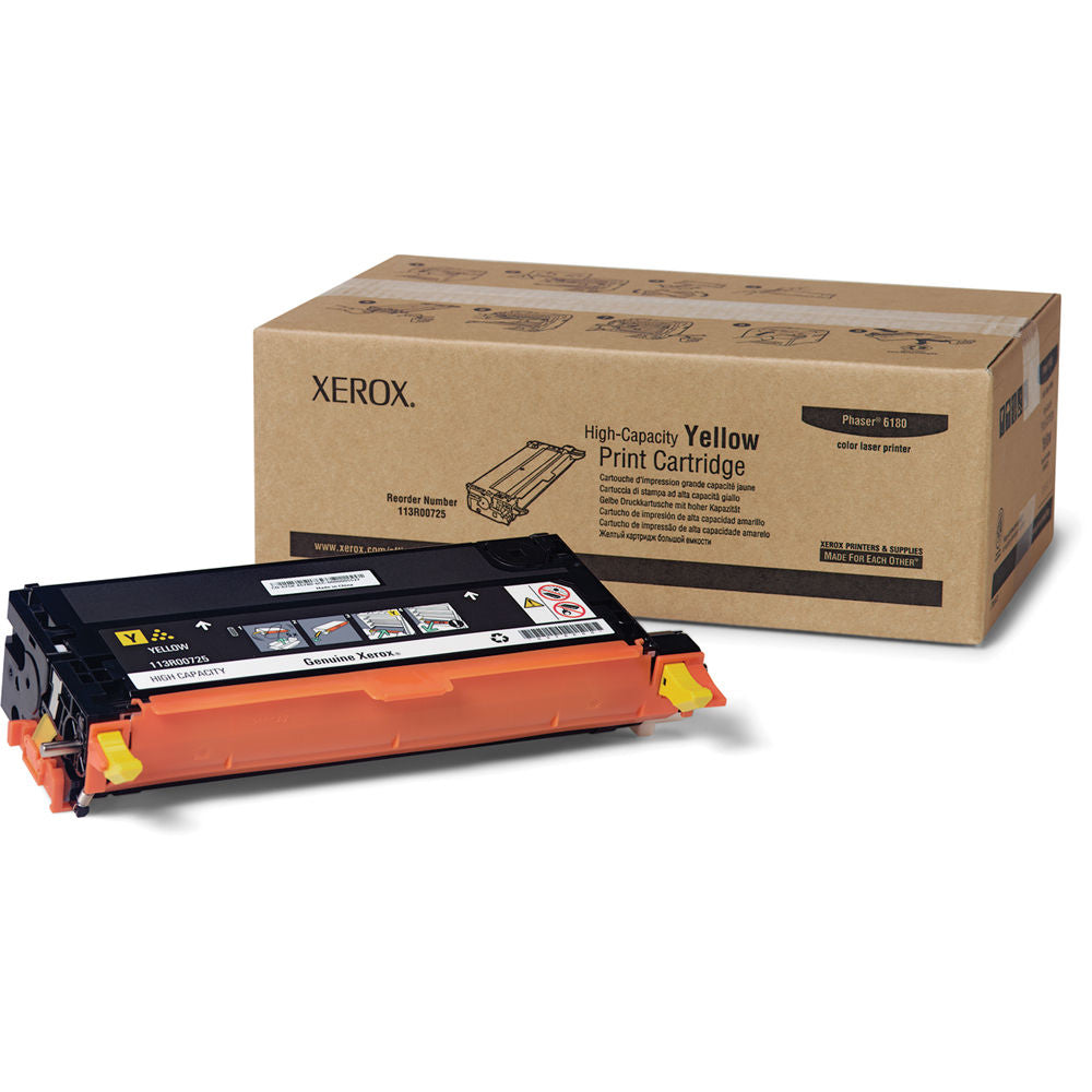 Xerox 113R00725 OEM Toner Cartridge For Xerox Phaser 6180 Yellow - 6K