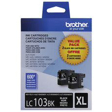 OEM Brother High Yield Black Ink Cartridge Dual Pack (2 x LC103bk)(2 X 600 Yield)