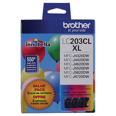 OEM Brother LC2033PKS Ink Cartridges LC203C, LC203M, LC203Y 550 Yield, 3 Pack