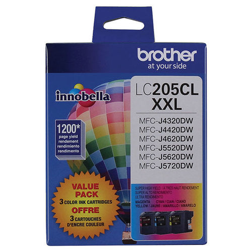 Brother Super High Yield C/m/y Ink Cartridge 3-pack (includes Oem# Lc205c, Lc205m, Lc205y) (3 X 1,200 Yield)