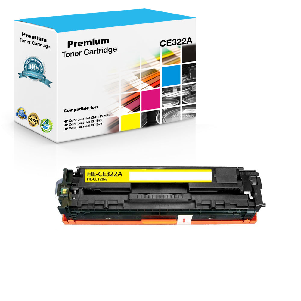 Compatible HP CE322A, 128A Toner Cartridge - Yellow - 1.5K