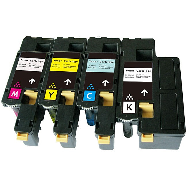 Compatible Dell 1250C Toner Cartridges for Black, Cyan, Yellow, Magenta - Value Pack