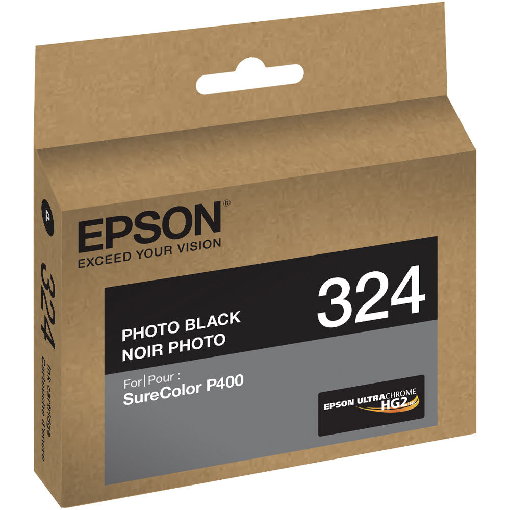 Epson 324, T324120 OEM UltraChrome HG2 Ink Cartridge For SureColor P400 Photo Black - 14mL