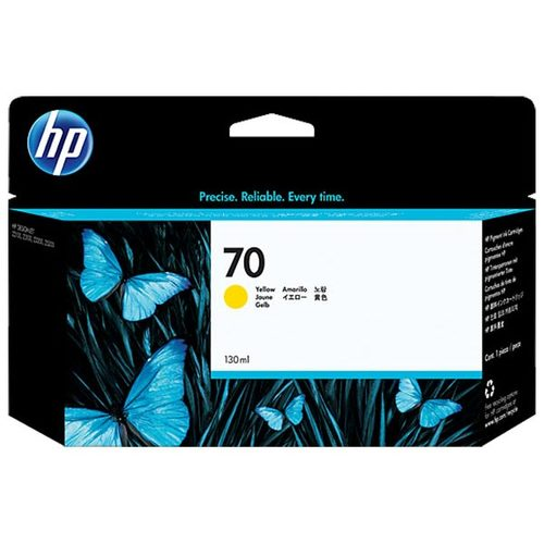 Original HP 70, C9454A DesignJet Ink Cartridge - Yellow - 130ml